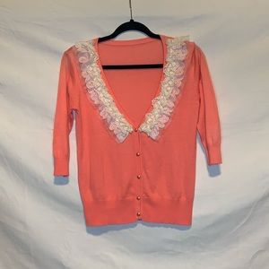 Preppy Chic Coral Pink Lace and Pearl Cardigan